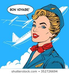 Illustration about Bon voyage stewardess airplane travel tourism pop art retro style. Aviation transportation and flights. Illustration of airport, retro, airplane - 63912659 Art Pop, Pop Art Girl, Desenho Pop Art, Airplane Travel, Travel And Tourism, Art Images, Vintage Posters, Comic Art, Aviation