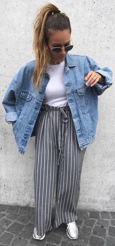 fall fashion trends / denim jacket + top + stripped pants