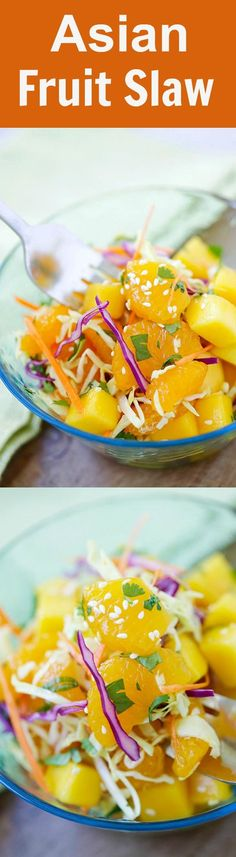 Asian Fruit Slaw – healthy, low-calorie, and delicious Asian fruit salad recipe that make you feel good every day, so light and refreshing | http://rasamalaysia.com