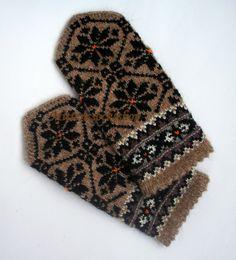 Hand knitted wool mittens Hand knit warm winter mittens gloves Unisex originally latvian mittens Black star ornament on a brown background Knitted Mittens Pattern, Knit Mittens, Wool Gloves, Knitted Gloves, Star Ornament, Knitting Accessories, Christmas Knitting, Knitting Designs, Etsy Handmade