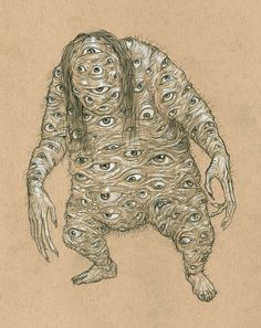 Dodomeki by Kurt Komoda. Dodomeki is a pale, lanky yokai woman with no facial features who has elongated arms adorned with thousands of eyes.