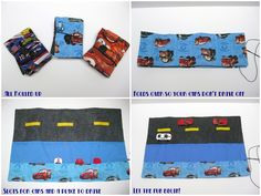 I saw these car cases when I was lurking around craft blogs. I don't have boys so I made them for the nephews.