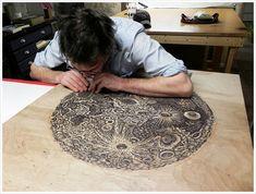 The Moon Woodcut Print in Progress