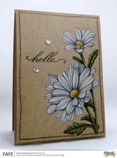 """using MIC digi """"Happy Daisies"""" Card Making Inspiration, Art Journal Inspiration, Making Ideas, Mothers Day Cards Craft, 3d Cards, Ink Stamps, Card Envelopes, Card Tutorials, Pretty Cards"""