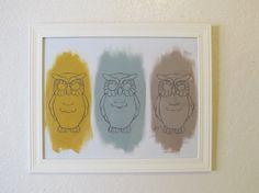 Owl TrioModern Urban Chic colorful  Owl wall art by mdcreated, $15.00