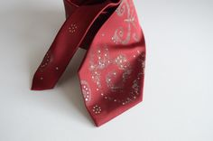 Men necktie red, hand painted neck tie red, gift for men, butterfly design necktie -  Hand painted accessories OOAK ready to ship by AudraTextileStudio on Etsy https://www.etsy.com/listing/169960688/men-necktie-red-hand-painted-neck-tie