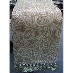 @Overstock - Update your decor with this beautiful Paisley Print Table Runner. This table accent combines tones of maize, beige and sage green on an Italian woven fabric with hand tied tassel fringe ends for a clean, elegant finish.http://www.overstock.com/Home-Garden/Corona-Paisley-Print-Table-Runner-12-x-70/6608918/product.html?CID=214117 $89.99