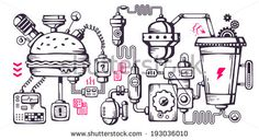 Vector industrial illustration background of the operating mechanism. Complex mechanism for the development and recycling food. Line Art  - stock vector