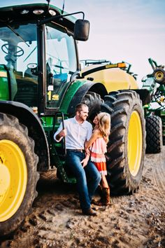 My beautiful friend's Engagement picture with a tractor on the farm