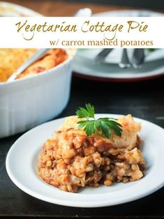 Vegetarian Cottage Pie with lentils, winter squash, cauliflower and spices in a rich savory tomato sauce and topped off with creamy carrot mashed potatoes. A delicious meatless comfort food recipe the whole family will love! #vegan #glutenfree #casserole #vegetarian #dairyfree #healthy #cleaneating #meatless  via @veggieinspired
