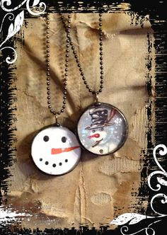 snowman necklace handmade soldered jewelry by THECHARMINGCHERUB, $35.00