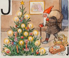 """God Jul"" illustration,by Elsa Beskow,artist. Swedish Christmas, Christmas Gnome, Christmas Books, Scandinavian Christmas, Vintage Christmas Cards, Elsa Beskow, Yule Goat, Artists For Kids, Scandinavian Art"