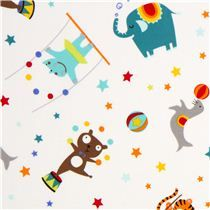 white Michael Miller fabric with small circus animal