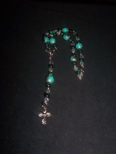 Here Pink and Black Rosary Beads & Green by BlueeyesJewelryShop