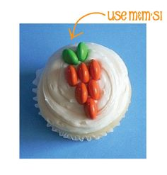 Use M & M's to Make Carrots on Cupcakes