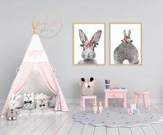Bunny Flower Crown Print Nursery Wall Art, Girl Nursery, Girls Bedroom, Nursery Decor, Bedroom Decor, Crown Printable, Printable Wall Art, Flower Crown, Toddler Girl