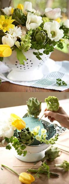 Here's another cute idea - use your colander and make a great arrangement for your kitchen table.  Wouldn't it be fun to make and admire over coffee with your friends? Everytime you walk by it, it's going to perk you up! Aren't the artichokes a clever idea? You could use green apples instead of the artichokes and that would look adorable too!