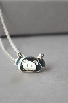 Pig necklace, 925 sterling silver necklace, pig charm pendant necklace, for pig lovers : ) (XL23)