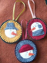 Sweet felt handstitched ornaments