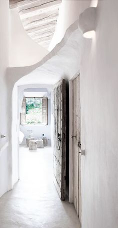 """Natural Home Design Ideas – Stone Cave House -- OMG best hallway EVER Check out these natural home design ideas, courtesy of this stone house by Alexandre de Betak. Hidden away in a small village in Majorca, """"Cave House"""" is Led Hallway Lighting, House Lighting, Alexandre De Betak, Interior And Exterior, Interior Design, Stone Interior, Interior Ideas, Interior Inspiration, Design Inspiration"""
