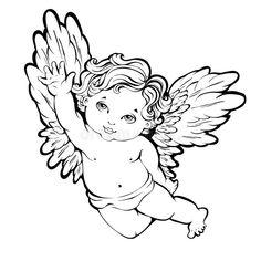 Angel Tattoo For Women, Baby Angel Tattoo, Guardian Angel Tattoo, Baby Tattoos, Small Tattoos, Tattoos For Women, Angel Tattoo Drawings, Angel Drawing, Angel Tattoo Designs