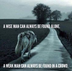 Wolf Quotes - A wise man can always be found alone. A weak man can always be found in a crowd. Motivacional Quotes, Wisdom Quotes, True Quotes, Great Quotes, Inspirational Quotes, Quotes Images, Wise Man Quotes, Loner Quotes, Attitude Quotes