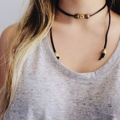 • Black Suede Short Choker Black suede choker with vintage, gold/bronzed beads. 30 inches long.  ❌ NO trades. Price is FIRM unless bundled. ⭕️ Please do not purchase this listing. I will create a new, customized listing for you with discounted shipping  Jewelry Necklaces