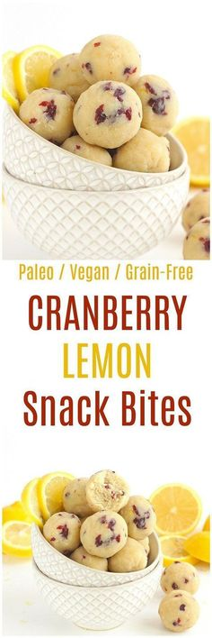 Cranberry Lemon Bites - These Cranberry Lemon Bites are the perfect paleo and vegan snack. Made from a combination of almond flour and coconut flour, these grain-free bites are deliciously tart! paleo dessert with coconut flour Paleo Dessert, Gluten Free Desserts, Vegan Desserts, Paleo Recipes, Whole Food Recipes, Snack Recipes, Cooking Recipes, Cooking Cake, Vegan Sweets