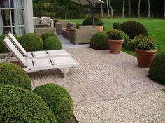 brick and gravel patio