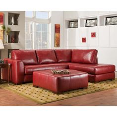 Chelsea Home Furniture 730275 6167 39962 Salem 2 Pieces Sectional · Red  Leather ...
