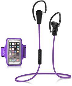 Jarv NMotion Purple 2-Piece Bluetooth 4.0 Earbuds & Universal Sports Armband Set