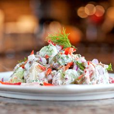 A potato salad inspired by the classic flavours of Smoked Salmon Bagels!