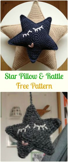 Crochet Star Pillow & Rattle Free Pattern – Crochet Star Free Patterns See other ideas and pictures from the category menu…. Faneks healthy and active life ideas Crochet Star Patterns, Crochet Stars, Love Crochet, Crochet Gifts, Baby Knitting Patterns, Crochet Baby, Modern Crochet, Diy Christmas Blankets, Christmas Pillow
