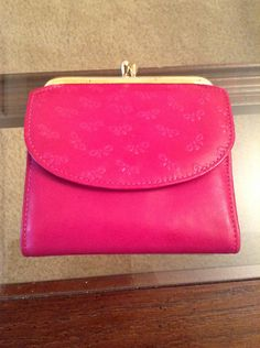 574a03cb1aa0c7 Vintage Princess Gardner Dark Pink Bows Small Genuine Lambskin Wallet with  Photo Holder New Old Stock WITH TAG