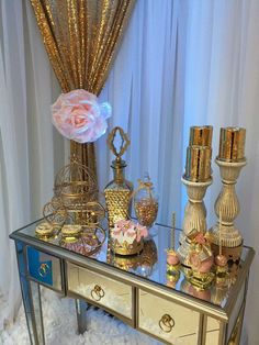 Glitterly gold princess baby shower party! See more party planning ideas at CatchMyParty.com!