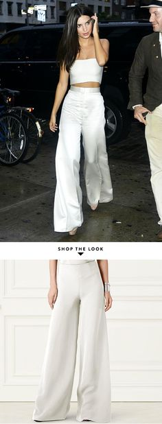 Emily Ratajkowski style — white silk wide-leg trousers + matching bandeau | summer 2016 | shop the look...