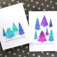 card making video tutorial: Watercolor Backgrounds with Markers . Kristina Werner creates beautiful backgrounds, die cuts trees and creates a set of Christmas cards . Watercolor Christmas Cards, Watercolor Cards, Watercolor Background, Watercolour, Diy Holiday Cards, Xmas Cards, Diy Cards, Handmade Cards, Simon Says