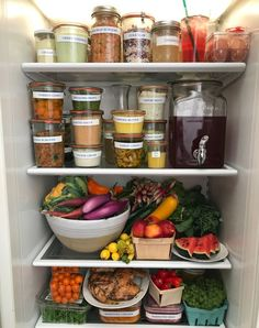 I'm a little bit famous in my circle of friends for my refrigerator. It's a bit like meal prep on steroids. Rather than having lots of boxes of pre-done food for the week, I like to prep some wonde… Refrigerator Organization, Recipe Organization, Organized Fridge, Clean Refrigerator, Kitchen Organization, Healthy Fridge, Healthy Eating, Pistachio Pesto, Everyday Food