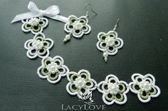Tatted earrings and bracelet Spring by LacyLoveJewelry on Etsy