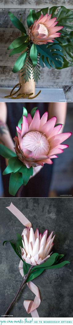 Protea Flower You can make this! Pattern and Tutorial at :You can make this! Pattern and Tutorial at : Paper Flower Art, Crepe Paper Flowers, Paper Flower Tutorial, Paper Roses, Flower Crafts, Flor Protea, Protea Flower, Fake Flowers, Diy Flowers
