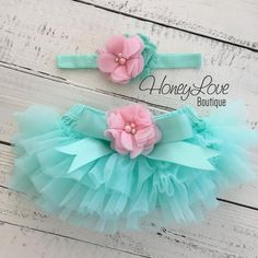 1e687a8944eb1 Mint/Aqua and Light Pink Embellished tutu skirt bloomers and headband. Baby  BloomersBaby TutuBaby DressLittle Baby GirlBaby KidsCake ...