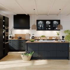 Black cuisine: why is he the star of the moment? Home Interior, Interior Design Kitchen, Black Kitchens, Home Kitchens, Home Staging Cuisine, Open Plan Kitchen, Kitchen Dining, Küchen Design, Home Decor Furniture