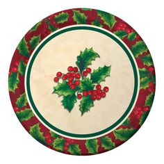 Boughs of Holly 7 Inch Lunch Plates/Case of 96