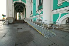 At the Hermitage Museum in Russia. Roll-A-Ramp can be built to any length needed. Aluminum handrails can also be added or removed. The ramp is 100% portable and can be moved to a new location. www.rollaramp.com