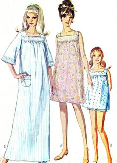 1960s Womens Nightgown Pattern Simplicity 7096 Long by paneenjerez, $12.00