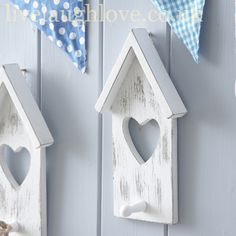 White Distressed Heart House Hook