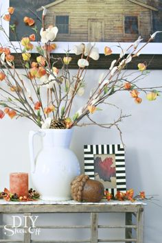 Fall decorating, fall vignette at diyshowoff.com