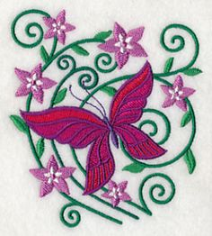 Burst of Spring Butterfly 1. One of 4 small coordinating designs in one size. Four different larger butterfly and floral designs available in 4 sizes ALL FREE until midnight 4-20-14 from Embroidery Library.