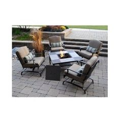 outdoor dining set patio fire pit 5 piece table chairs garden furniture firepit