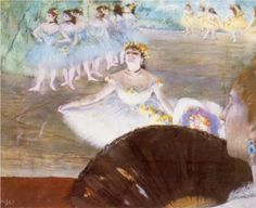 Dancer with a Bouquet of Flowers - Edgar Degas Completion Date: 1878 Style: Impressionism Genre: genre painting Technique: pastel Dimensions: 40 x 50 cm Gallery: Rhode Island School of Design Museum of Art, Providence, Rhode Island, USA
